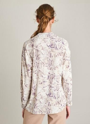 Monamoda Yılan Desenli Gömlek Pembe